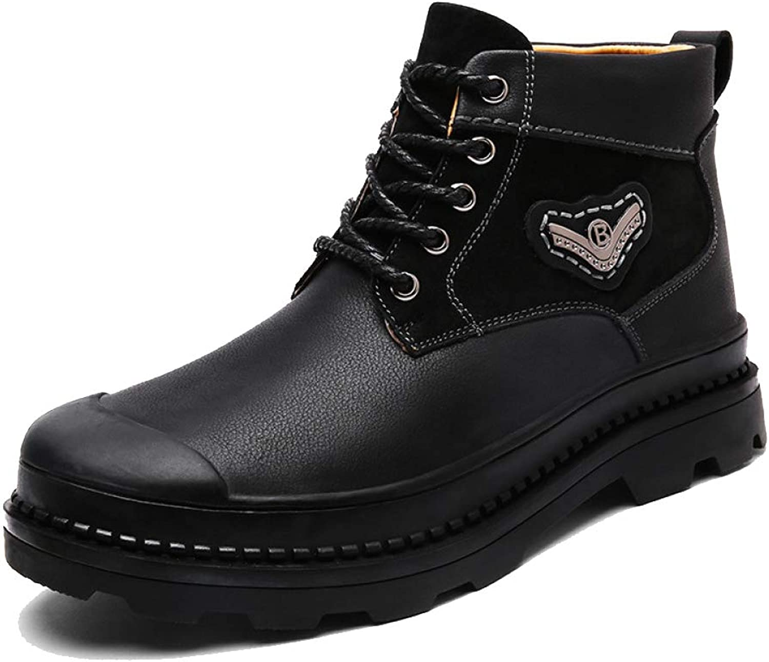 DSFGHE Boots Mens Leather Martin Boots Plus Velvet Rubber Ankle Chukka Boots Fighting Work Snow Boots Lace-up Boots