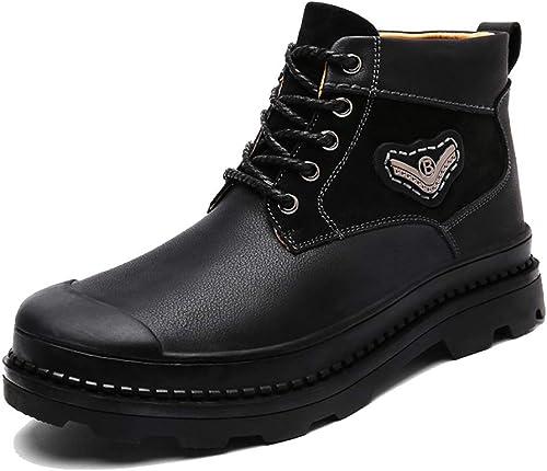 botas De Cuero para Hombre botas Martin Más Terciopelo Caucho Tobillo Chukka botas De Combate botas De Nieve De Trabaño botas con Cordones