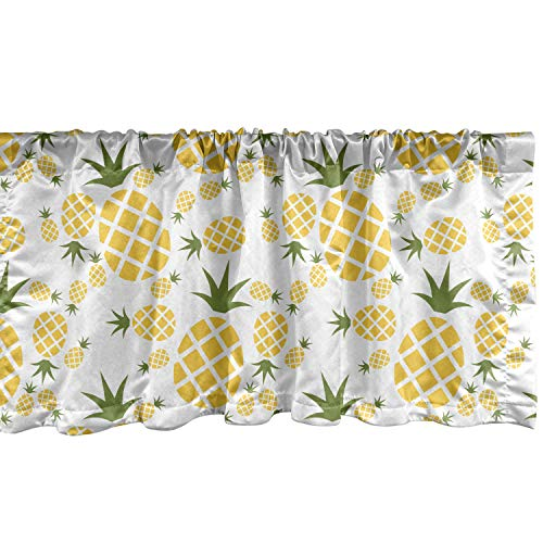 Lunarable Pineapple Window Valance, Pineapple in Pictogram Design Vintage Style Pattern Farm Vibrant Color, Curtain Valance for Kitchen Bedroom Decor with Rod Pocket, 54' X 12', Olive Green