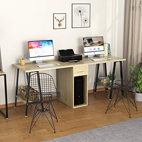 "DEWEL Two Person Desk 78"" Double Computer Desk with Drawer Extra Long Office Work Table with Storage Shelves Wood Executive Craft Desk"