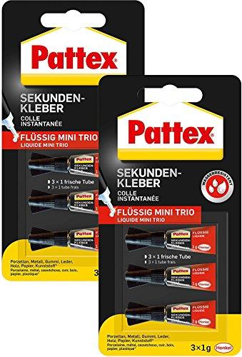 Pattex Sekundenkleber Mini Trio flüssig 6 x 1 g, PSMT2 (6 Tuben à 1 g)