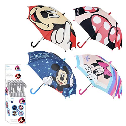 CERDÁ LIFE'S LITTLE MOMENTS- Paraguas Manual Infantil Mickey y Minnie Mouse - Licencia Oficial Disney, Color azul marino (2400000517_T42C-C04)