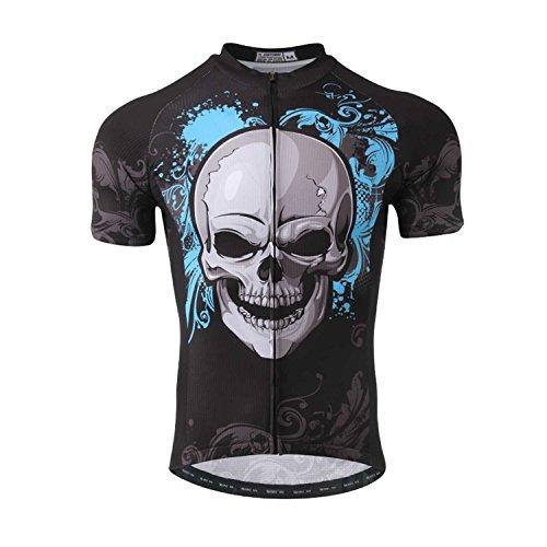 SXSHUN Maillots de Ciclismo para Hombres Camiseta de Manga Corta de Bicicleta Jersey para Verano Fresco Transpirable, Esqueleto Azul, XXL