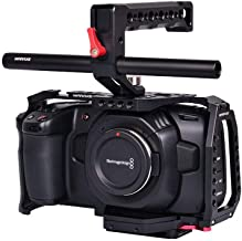 Waraxe BMPCC 4K Cage Blackmagic Pocket Cinema Camera 4K ALU Black with Handle, Support Rod and Arca Swiss Compatible Quick Release Plate