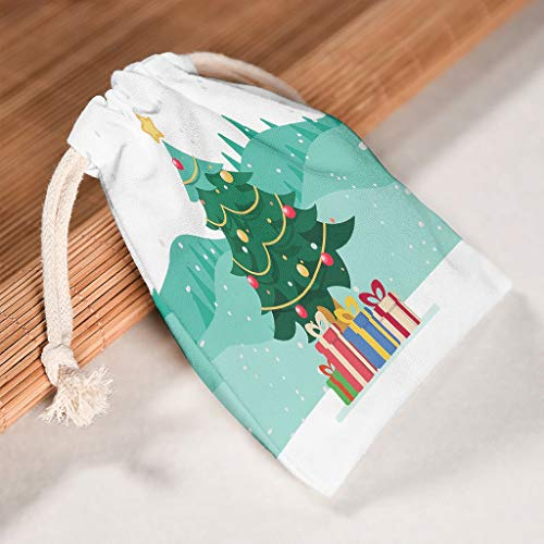 Lind88 1 for 6 Christmas Tree Drawstring Bags Breathable Toy Pouch Bag fits Valentine's Day Party Gifts Wrap Bag - Tree Theme Print White 20 * 25cm
