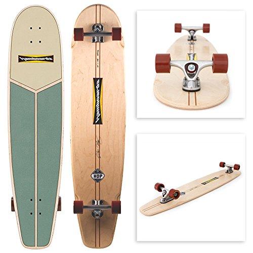 "Hamboards Huntington Hop - Handcrafted Longboard Skateboard for Landsurfing & Cruising 45"" - Laminated Birch & Maple (Key Lime)…"