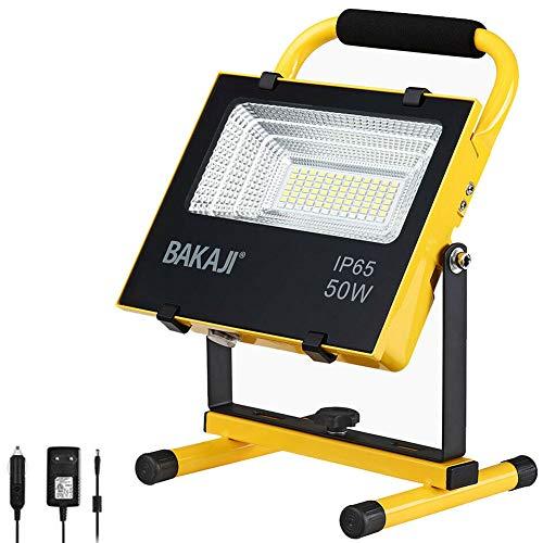 Bakaji Lampada Faro da Lavoro Portatile Chip LED COB Alta Luminosità 2500 Lumen 50W con Luce Emergenza Rosso Blu Batteria a Litio Ricaricabile 12V 220V Casa Auto Impermeabile IP65 da Esterno (50 W)