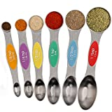 Magnetic Measuring Spoons Set Stainless Steel Dual Sided Stackable Teaspoons Tablespoons for Measuring Dry and Liquid Ingredients