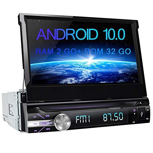 AWESAFE Autoradio 1 din Android 10.0 Universal Voiture Models Écran rétractable de 7 Pouces Cartes Hors Ligne préinstallées Supporte Le CD DVD WiFi Bluetooth FM AM RDS USB SD AUX Commande au Volant