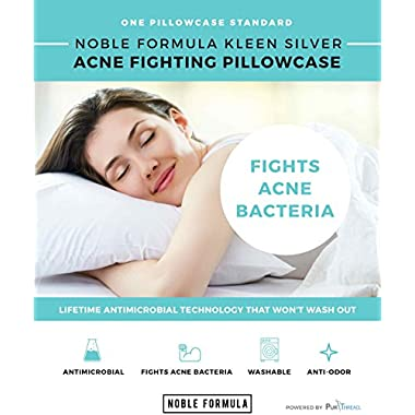 Noble Kleen Silver Acne Fighting Antimicrobial Pillowcase with PurThread Silver Technology