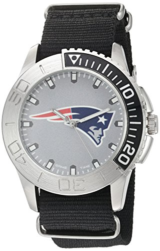 Game Time Men's 'Starter'  Metal and Nylon Quartz Analog  Watch, Color:Black (Model: NFL-STA-NE)
