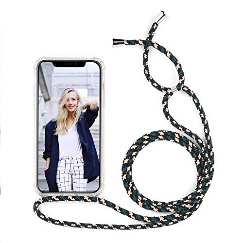 YuhooTech Custodia con Cordino Compatibile con iPhone 6S Plus, Cover con Collana Practical Stylish, Trasparente Morbido Silicone Leggero Soft TPU Antiscivolo Case per Cellulare Girocollo