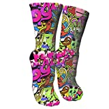 antspuent Graffiti Art Hip-hop Style Texture Pattern Compression Socks Unisex Printed Socks Crazy Patterned Fun Long Cotton Socks Over The Calf Tube