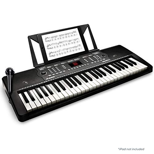 Alesis Melody 54 - Tragbares 54-Tasten Keyboard mit eingebauten Lautsprechern, 300 integrierten Sounds und Rhytmen, 40 Demo Songs, Mikrofon, Notenablage