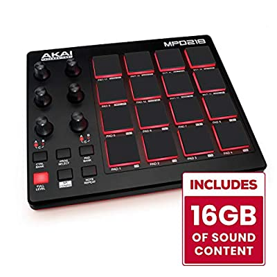 AKAI Professional MPD218 | Ultra Portable USB Bus Powered 16 Pad USB/MIDI Pad Controller from inMusic Brands Inc.