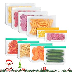 Godmorn Bolsas Reutilizables de Almacenamiento de Alimentos,Biodegradables, Bolsas Congelar Reutilizables,10Paquetes Bolsas para Sándwiches,Verduras,Frutas.A Prueba de Fugas,Sin BPA
