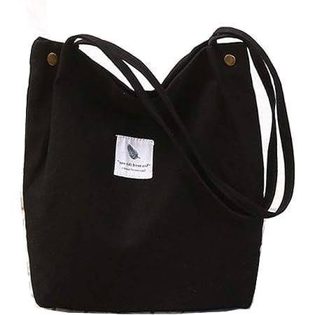 Funtlend Canvas Tasche,Damen Groß Umhängetasche Crossbody Bag- Tasche Schultertasche Damen Handtasche Shopper für Fraun Mädchen Einkauf (Modell2#Schwarz)