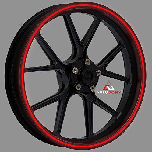 Autodomy Pegatinas Llantas Moto Reflectante Sport Juego Completo para 2 Llantas de 15' a 19' Pulgadas (Rojo Reflectante, Ancho 7 mm)