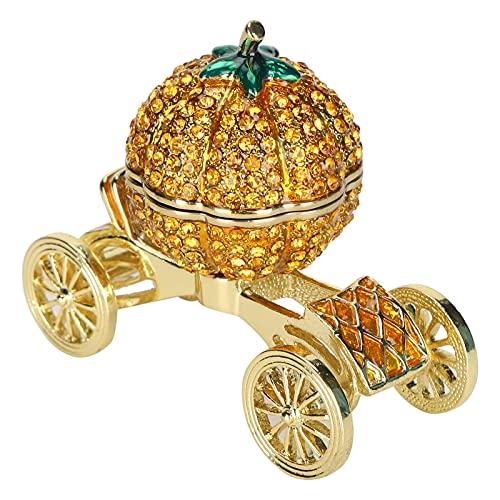 Wosune Caja de baratijas de Calabaza, Carro de Carro Decoración de Regalo Adorno de Carro de Calabaza para colección de Adornos para Almacenamiento de Joyas