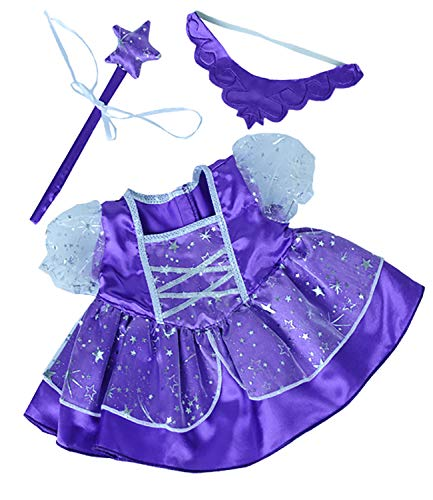 Stuffems Toy Shop Purple Fairy Princess Dress w/Wand Teddy Bear Clothes Outfit Fits Most 14