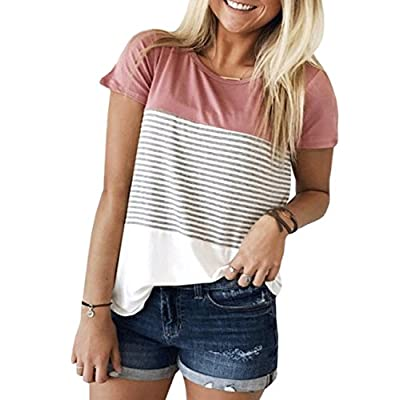 Women's Summer Short Sleeve Striped Blouse Junior Casual Tunic