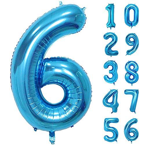 GRESAHOM Ballon Zahl in Blau, 40inch 100cm Riesen Folienballon Zahl 6 Luftballon Geburtstagsdeko