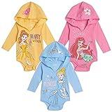 Disney Princess Cinderella Belle Ariel Baby Girls 3 Pack Hooded Bodysuits 18 Months