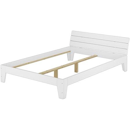 Erst-Holz Cadre de lit Double Style Contemporain pin Massif Blanc 140x200 sans sommier ni Matelas 60.54-14WoR
