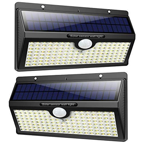 Luz Solar Exterior 138 LED, Feob Luces Solares Exterior con Sensor de Movimiento Gran Ángulo 270° 2500mAh Lámpara Solar Exterior Inalámbrico Impermeable 3 Modos Inteligente Foco Solar para Jardín