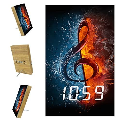 Reloj de día con LED digital de escritorio y pared con alarma de día con fecha y hora, batería de reserva de fuego y notas de música acuática