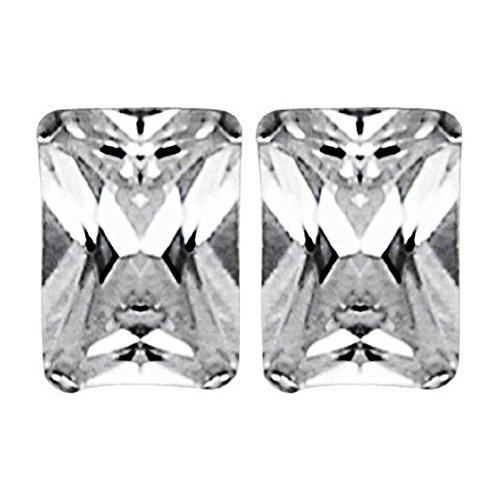 Postes de diamante con circonitas rectangular - de ley pendientes de plata y turquesas - Juego de pendientes de tamaño pequeño estilo Simple - Emerald Cut 6 x 4 mm