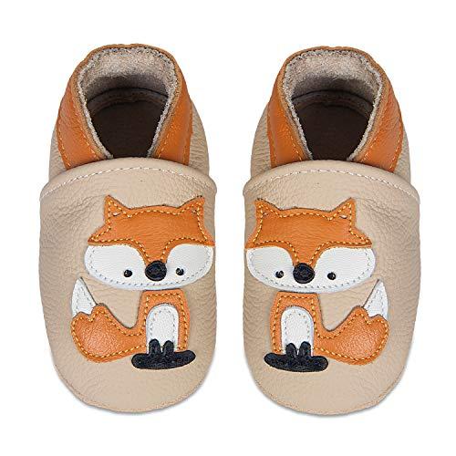 HMIYA Weiche Leder Krabbelschuhe Babyschuhe Lauflernschuhe mit Wildledersohlen für Mädchen und Jungen(2-3 Jahre,Khaki)
