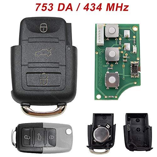 VW Seat Sendeeinheit Schlüssel Fernbedienung Eckig 3 Tasten 1J0959753DA 434 MHz Neu