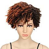 NOBLE GIRL Short Dreadlock Wig Kinky Twist Wigs Synthetic Afro Curly Faux Locs Wigs for Black Women(9 inch, Reddish Brown Highlight)