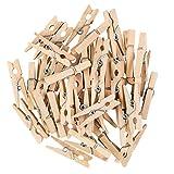 Idena 63135 Miniaturklammern aus Holz, 45 Stück, ca. 2,8 cm lang, zum Basteln, Dekorieren und Verzieren