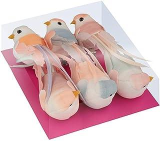 Artemio 13001064 Set 6 Oiseaux de Décoration, Pastel, 10 cm