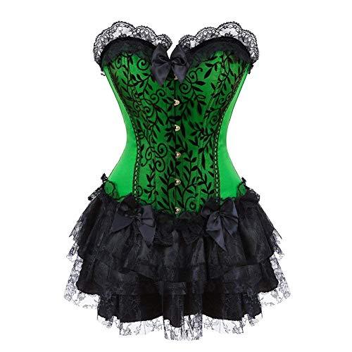 Dames korsetjurk met zwarte kant bruid corsage met bijpassende modieuze rok vintage elegante steampunk gothic feestelijke party bustier korset