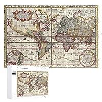 INOV ヴィンテージアンティーク旧世界地図デザインフェード ジグソーパズル 木製パズル 1000ピース インテリア 集中力 75cm*50cm 楽しい ギフト プレゼント