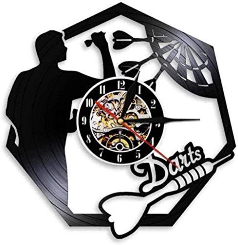 CCGGG Vinilo Reloj de Pared Dardos Cueva Reloj de Pared Sala de Juegos decoración Bar Juego Discoteca 12 Pulgadas