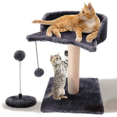GiftParty Cat Scratching Post for Kitty, Natural Sisal Scratchers Post, Plush Platform and Hanging Toy Balls, Kittens & Cat Interactive Toys