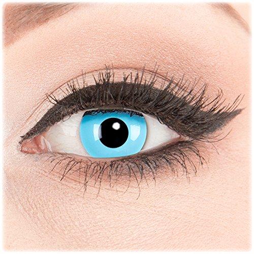 Farbige Kontaktlinsen zu Fasching Karneval Halloween 1 Paar Crazy Fun blaue 'Sky Angel' mit Kombilösung (60ml) + Behälter in Topqualität von 'Glamlens' ohne Stärke