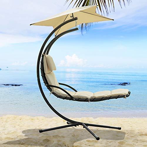 SoBuy OGS39-MI Schwebeliege mit Sonnenschirm Relaxliege Schwingliege Schaukelliege Hängesessel Hängeliege Sonnenliege Belastbarkeit 120kg beige BHT ca: 170x210x115cm - 2