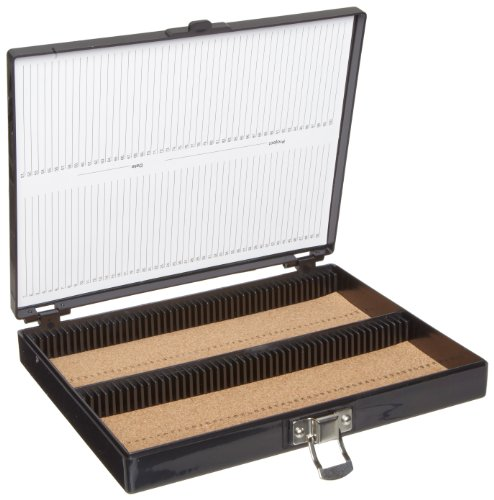 Heathrow Scientific - HEA15994G HD15994G Black Cork Lined 100 Place Microscope Slide Box, 8.25' Length x 7' Width x 1.3' Height
