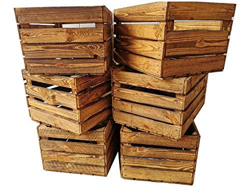 Vecchie cassette della frutta, in legno, con effetto fiammato, ideali per la costruzione di mobili o per la conservazione, lavorazione molto massiccia e robusta