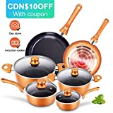 Cookware-Set Nonstick Pots and Pans-Set Copper Pan - KUTIME 6pcs Cookware Set Non-Stick