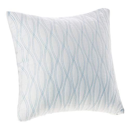 Harbor House Modern Design Decorative Pillow Hypoallergenic Sofa Cushion Lumbar, Back Support, 18u0022x18u0022, Coastline, Cotton Blue Square