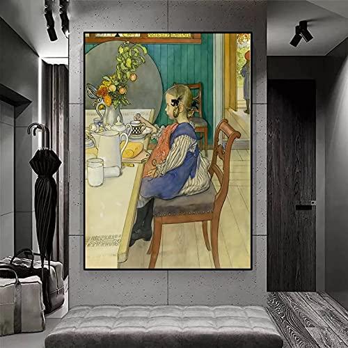 Carl Olof Larsson-Sad Desayuno en la cama Little Lie /5D Kits de pintura de diamantes para bricolaje /Taladro completo para adultos y niños Kits de herramientas / /