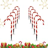 Candy Christmas Lights, Candy Cane Lights Outdoor Pathway, Pathway Markers, Christmas LED Yard Lawn Pathway Markers, Christmas Indoor and Outdoor Decoration Lights UL588 Certified,18ft Length (White)