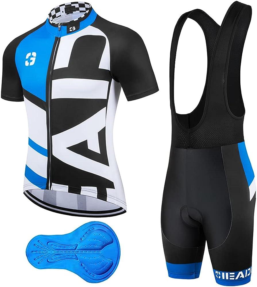 Brzsacr abbigliamento per il ciclismo da uomo salopette pantaloncini piu` maglietta a maniche corte
