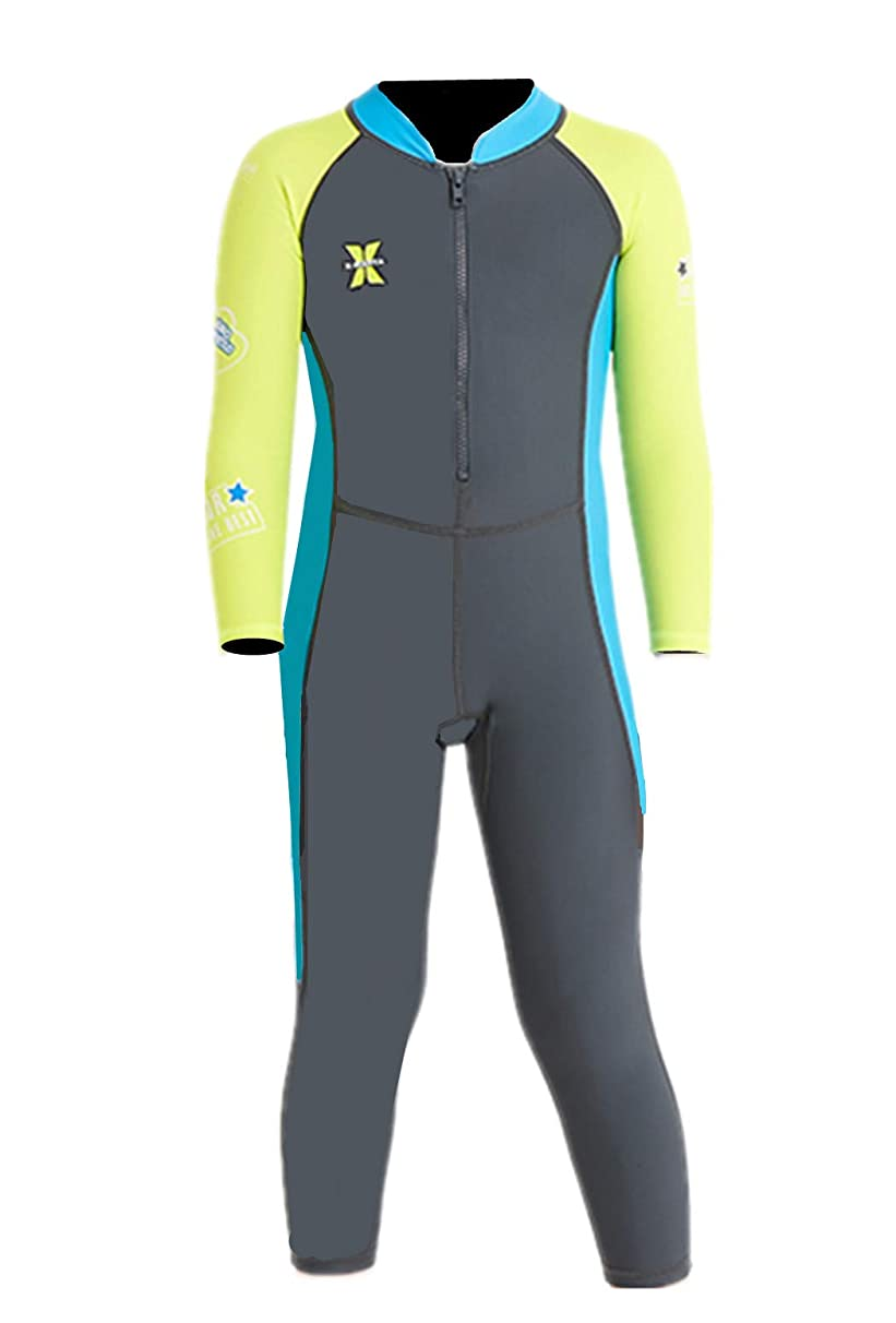 DIVE&SAIL Little Girls 2.5mm Wetsuit Long Sleeve One Piece UV Protection Thermal Swimsuit